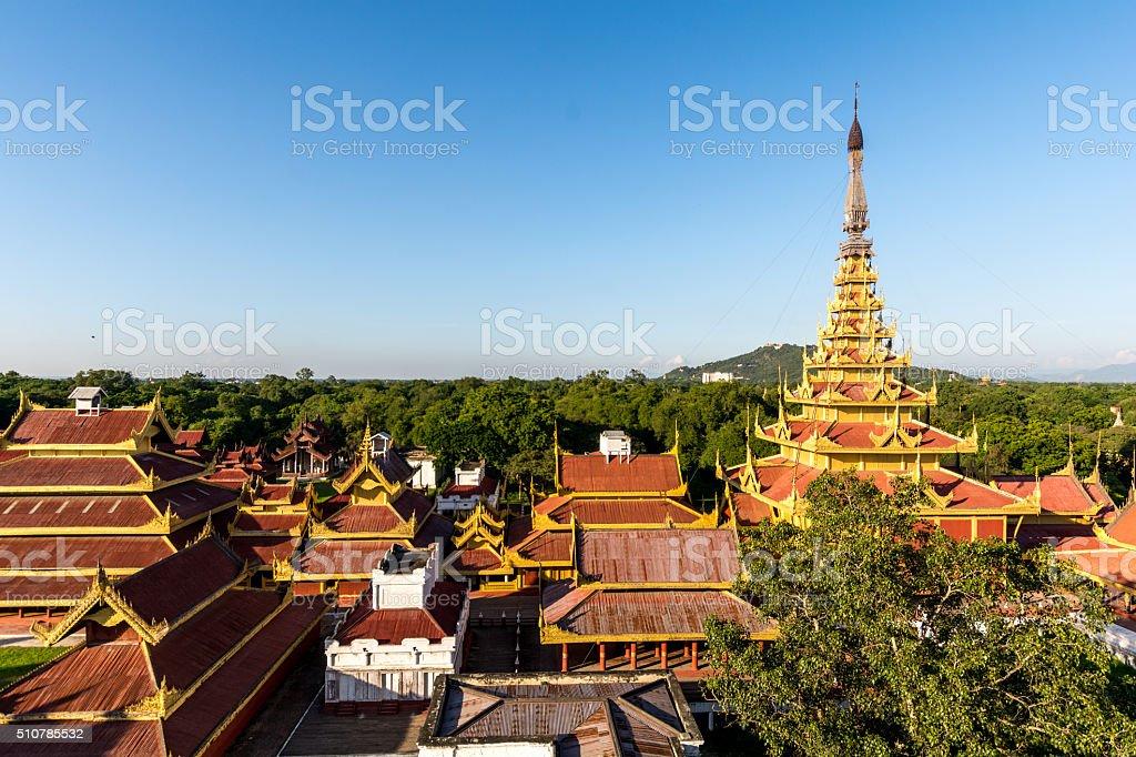 The royal palace in Mandalay, Myanmar Nov 2014 stock photo