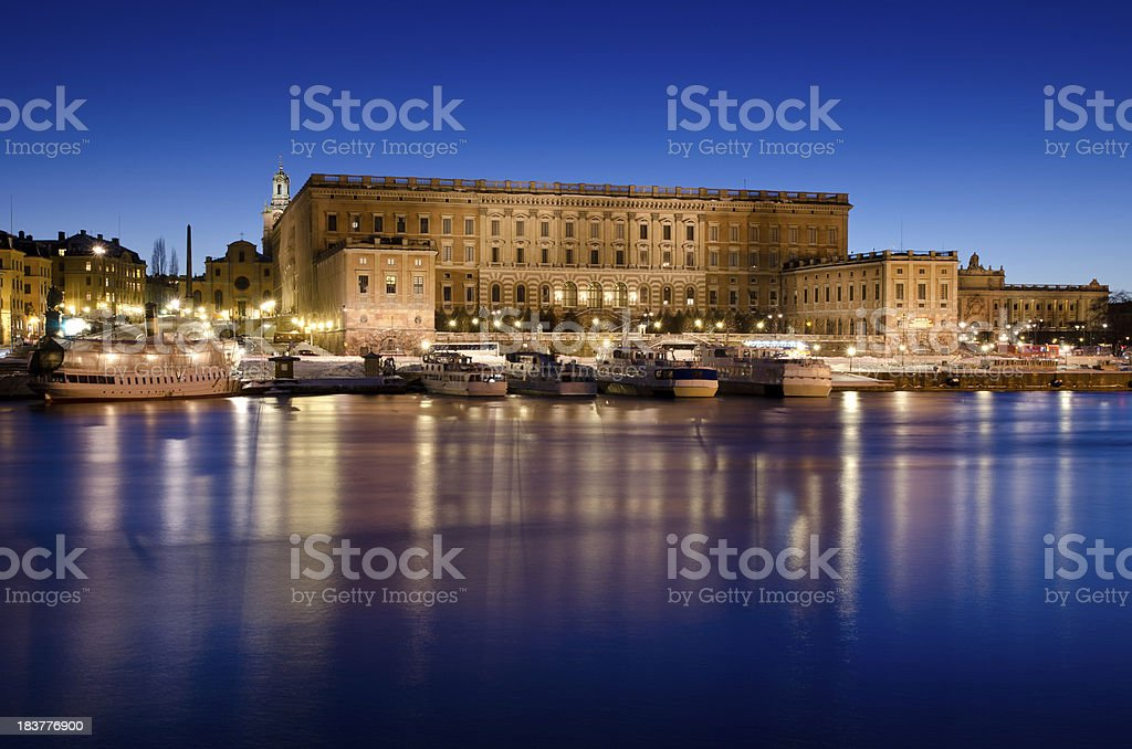 The Royal Palace in Stockholm at Dusk royalty-free stock photo