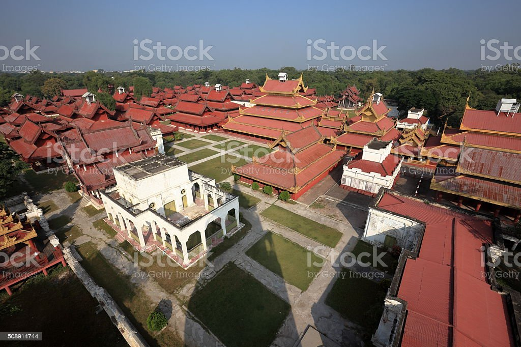 The Royal Palace of Mandalay in Myanmar stock photo