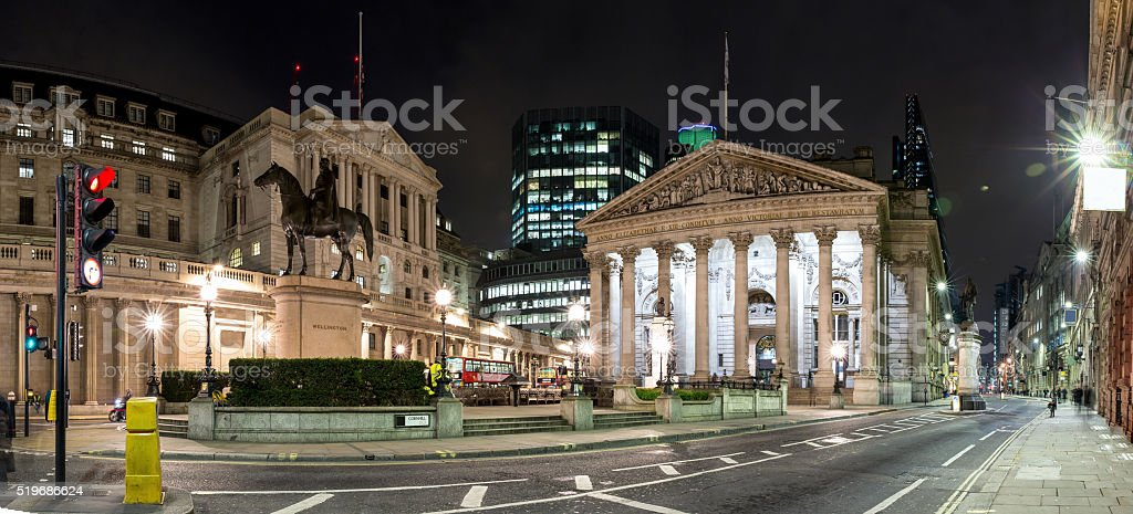 The Royal Stock Exchange in London by night stock photo