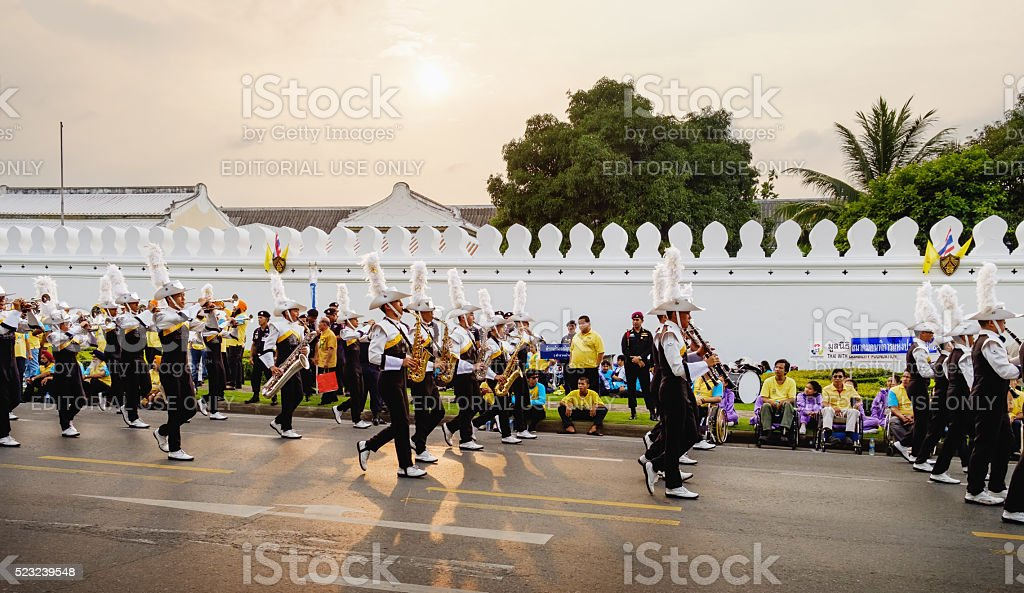 The Royal Thai Army musicians during processio, Bangkok, Thailand stock photo