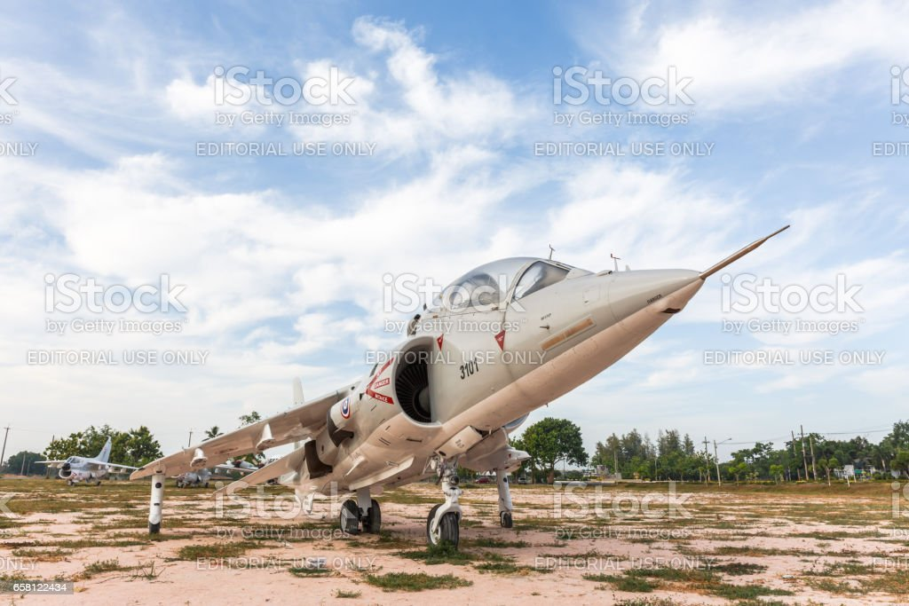 SATTAHIP, THAILAND - MARCH 25, 2017 : The Royal Thai Navy Airforce Av - 8 airplane are in area of open air museum of The Royal Thai Navy, Thailand. stock photo