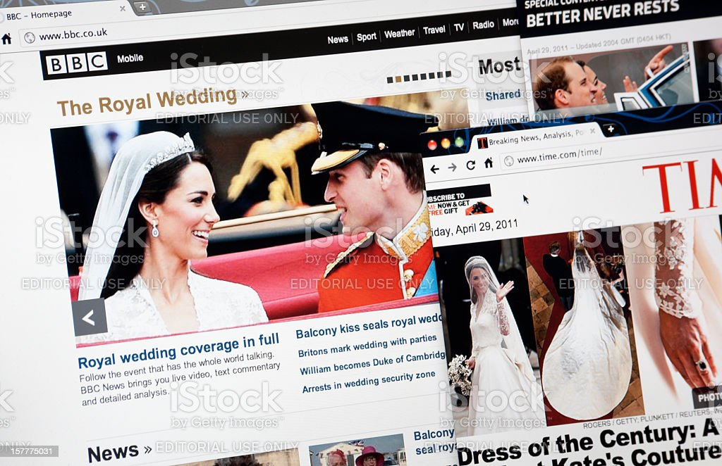 The Royal Wedding on BBC.com, TIME.com and CNN.com Web Pages royalty-free stock photo