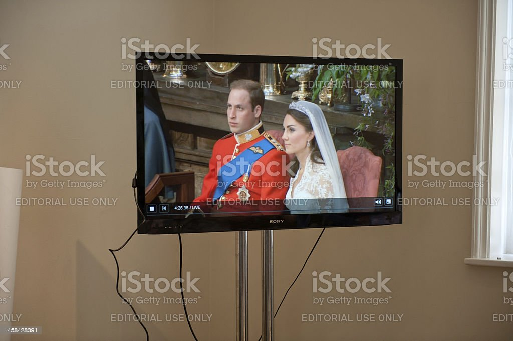The Royal Wedding on Television in London, England stock photo