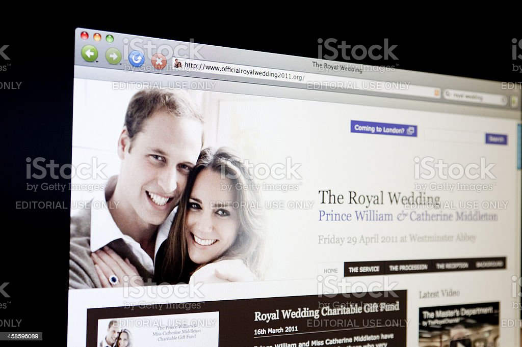 The Royal Wedding website viewed on computer screen. stock photo