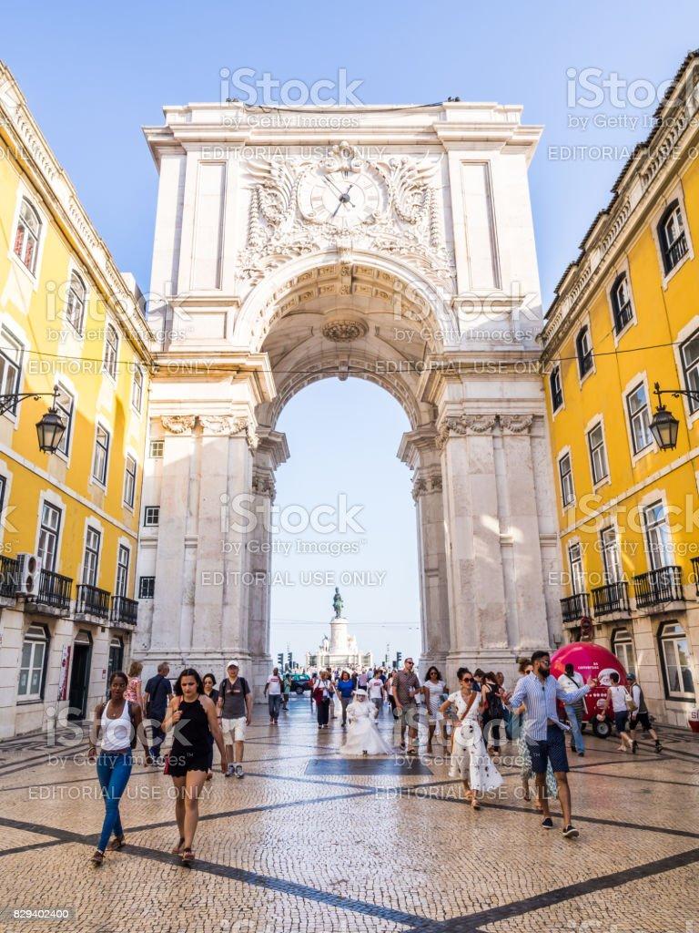 The Rua Augusta Arch in Lisbon, Portugal stock photo