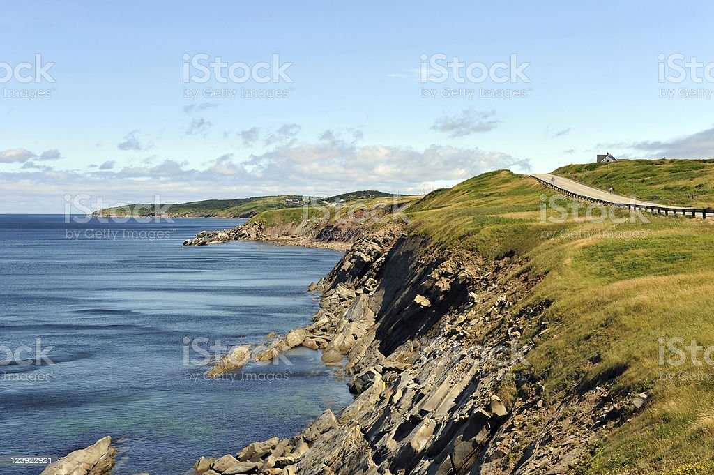 The rugged coast of Cabot Trail in Cape Breton stock photo