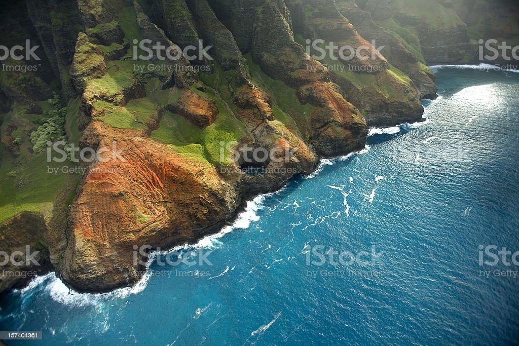 The rugged Napali Coastline of Kauai, Hawaii stock photo