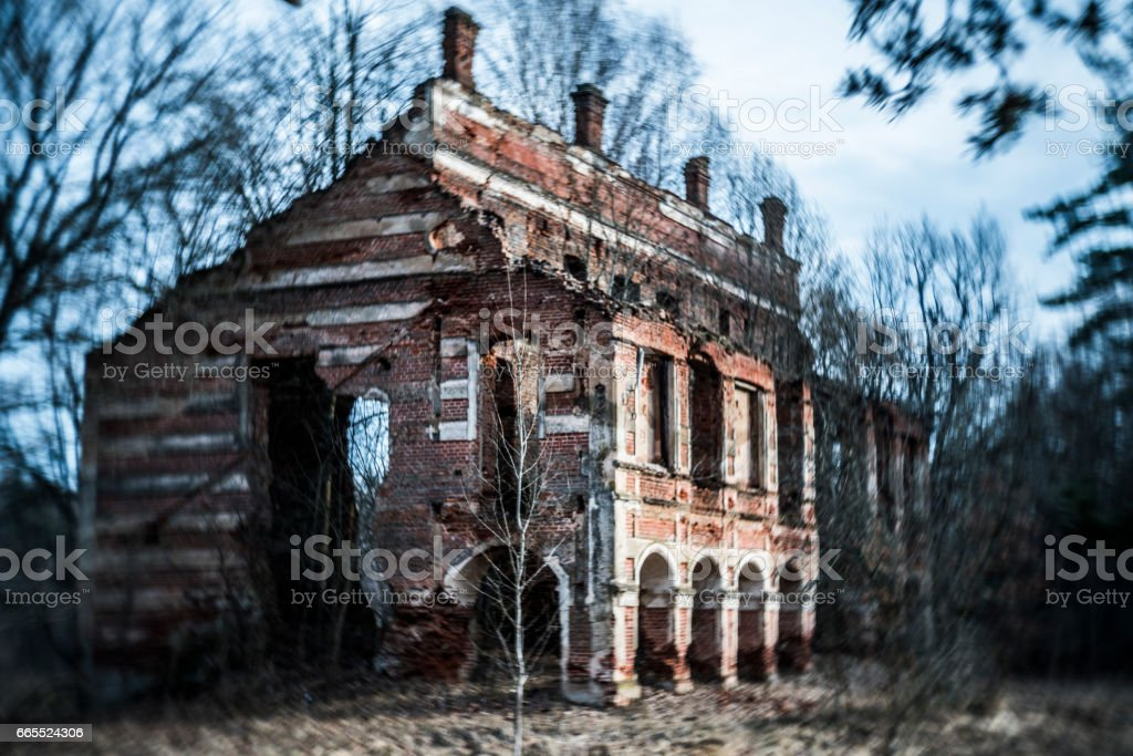 The ruined and abandoned XIX-th century palace of Tyshkevich near by Ivenets city, Belarus, Eastern Europe stock photo
