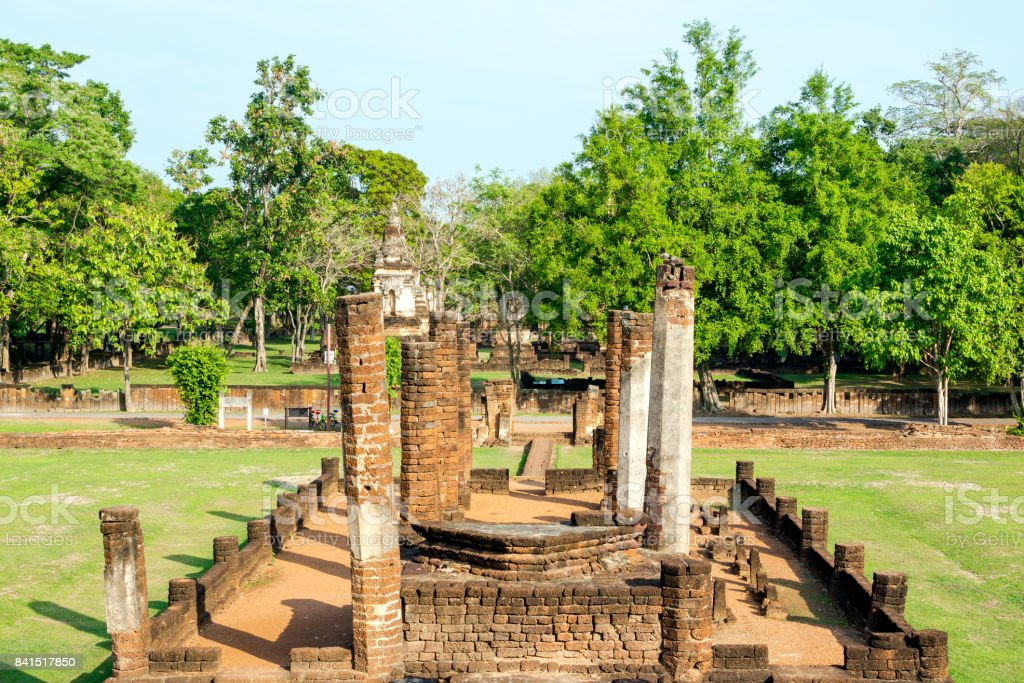 The Ruined vihara at Sukhothai, Thailand stock photo