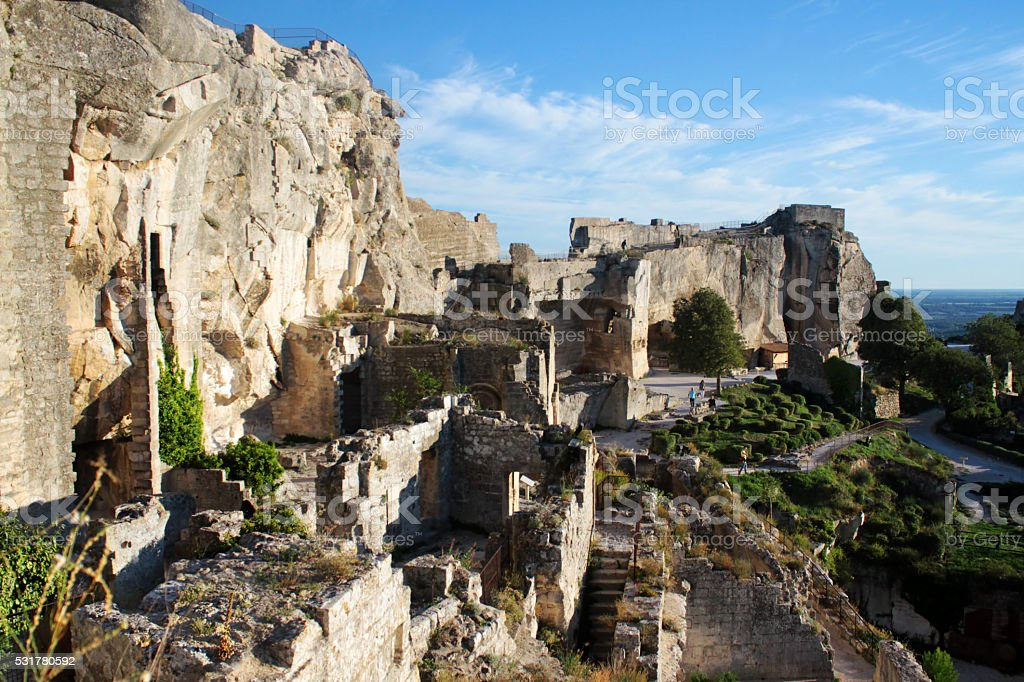 The ruins in Les Baux-de-Provence, Provence, France stock photo