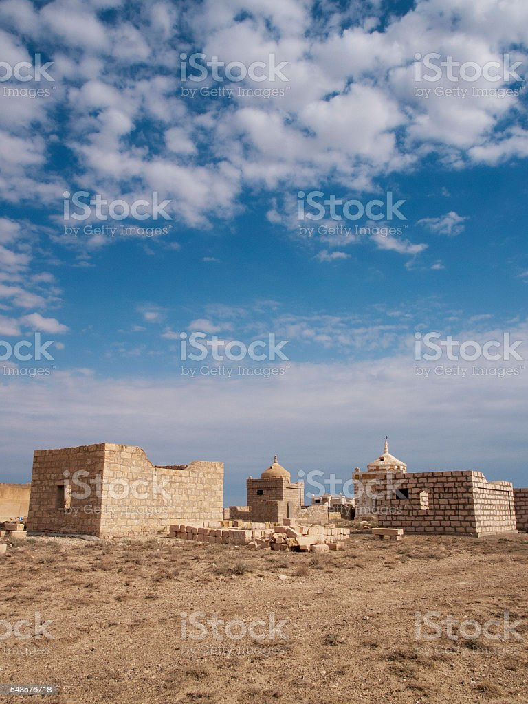 The ruins mausoleum of an ancient Muslim cemetery, Ustyurt, Kazakhstan stock photo