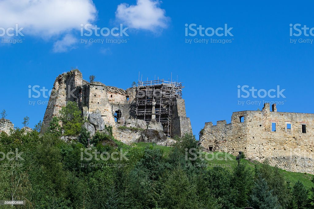 The ruins of a medieval castle stock photo