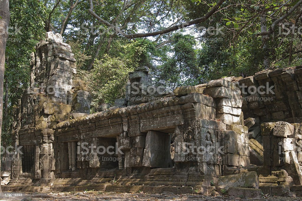 The ruins of a small temple in Angkor Wat, royalty-free stock photo
