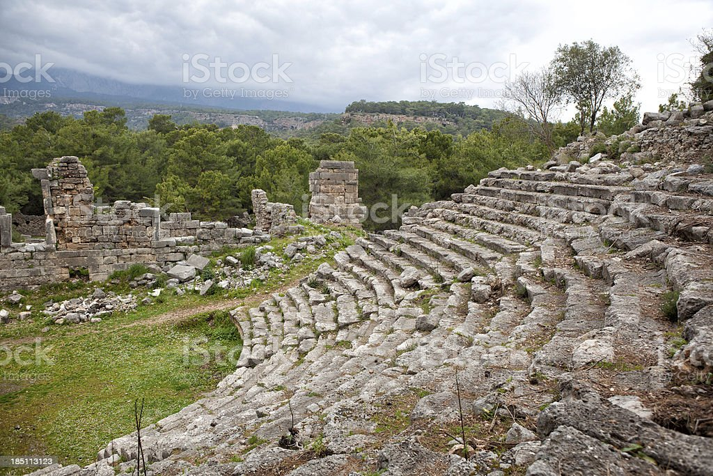 The ruins of amphy theartre in antique city, Phaselis royalty-free stock photo