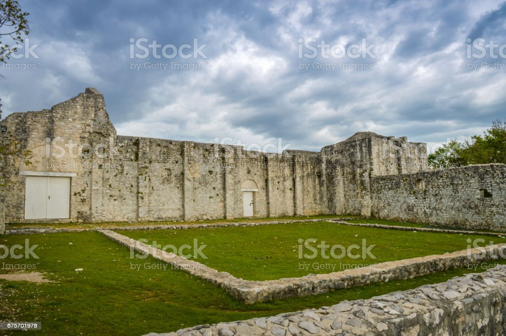 The ruins of an early Christian basilica in the city of Omišalj, the island of Krk, Croatia stock photo