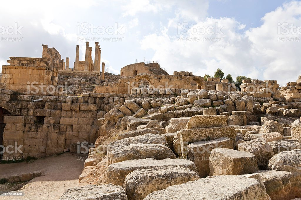 the ruins of ancient jerash, jordan stock photo