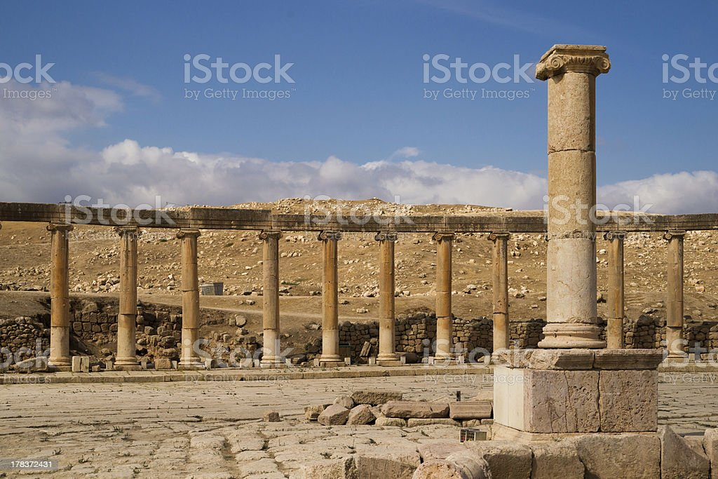 The ruins of ancient Jerash royalty-free stock photo
