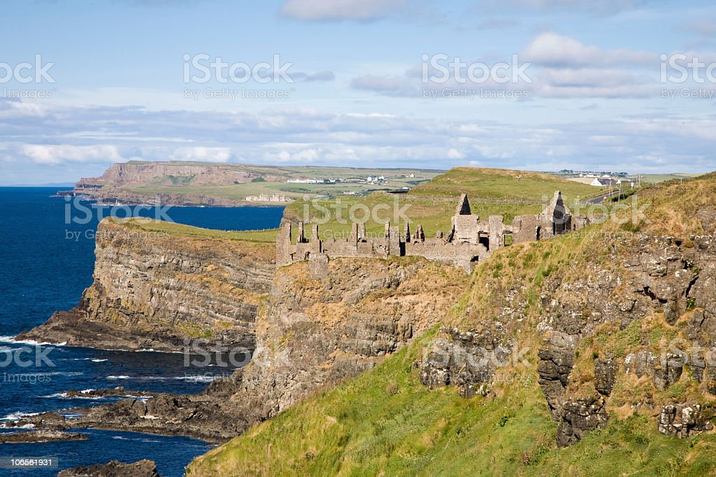The Ruins of Dunluce Castle stock photo