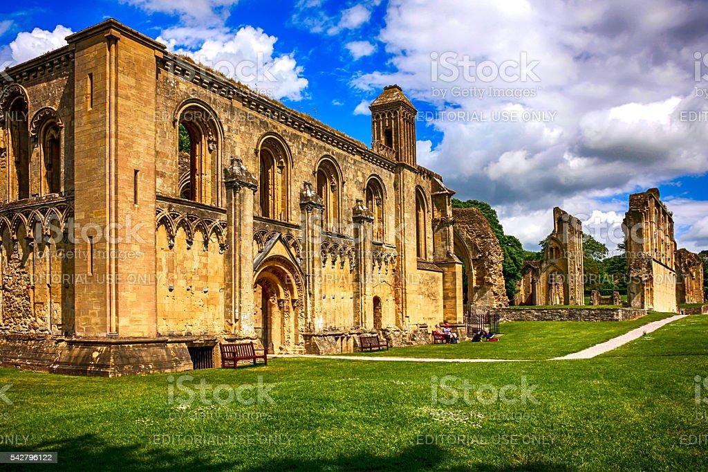 The ruins of Glastonbury Abbey, UK stock photo