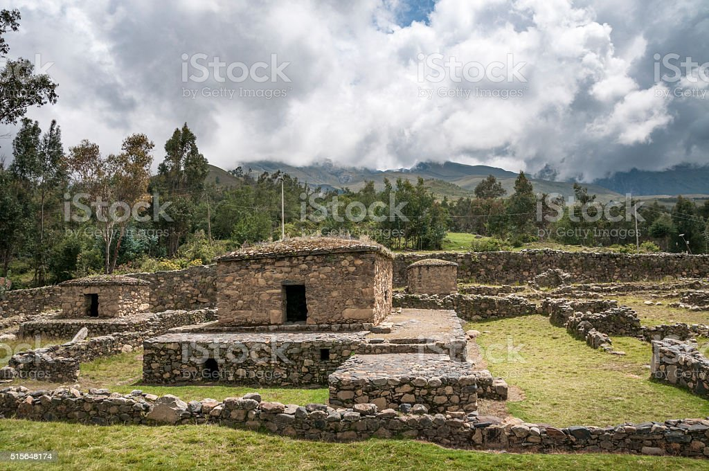 The Ruins Of Ichic Wilcawain In Huaraz, Peru stock photo
