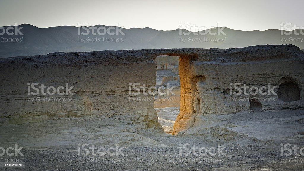 The ruins of Jiaohe by sunset, Xinjiang, China stock photo