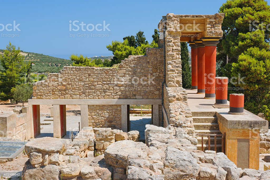The ruins of Knossos Palace in the island of Crete, Greece stock photo