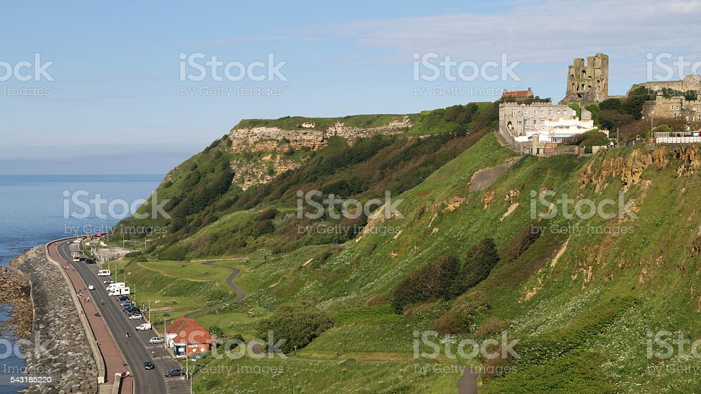The Ruins of Scarborough Castle overlooking Marine Drive stock photo