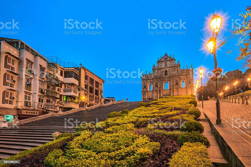 The Ruins of St. Paul's in Macau, China stock photo