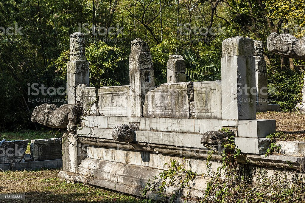 The ruins of stone platform in Ming Xiao mausoleum, Nanjing stock photo