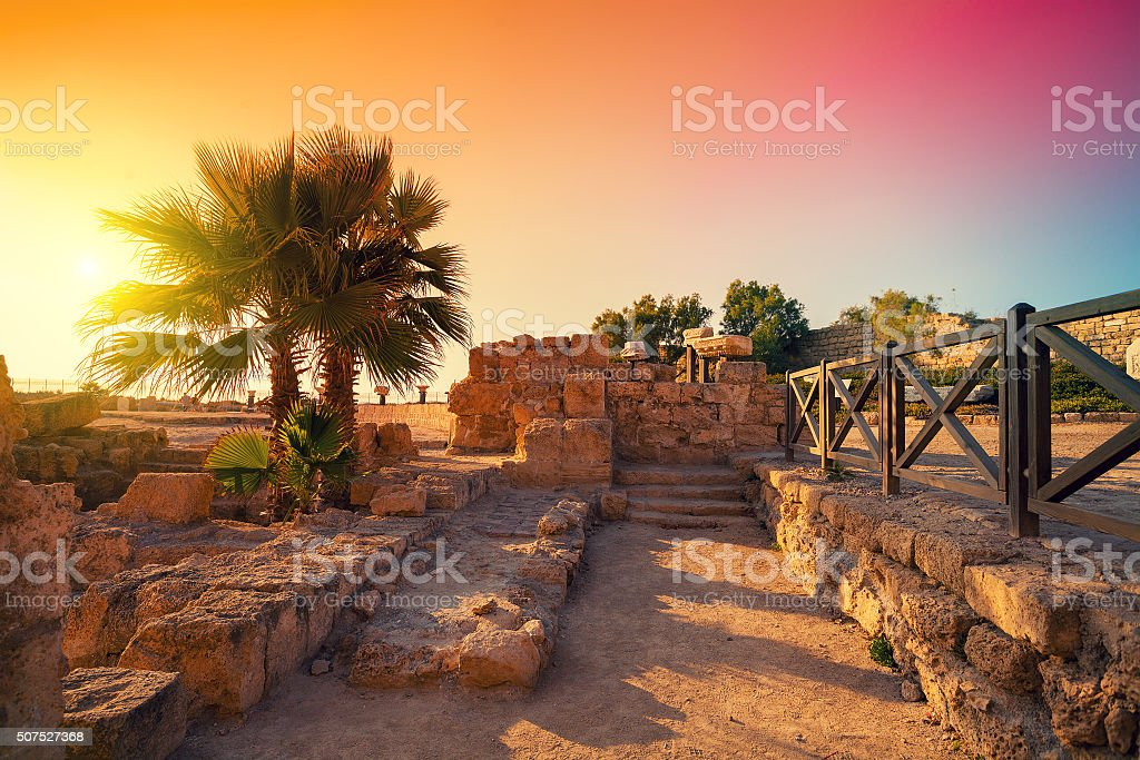The ruins of the ancient city in Caesarea, Israel stock photo