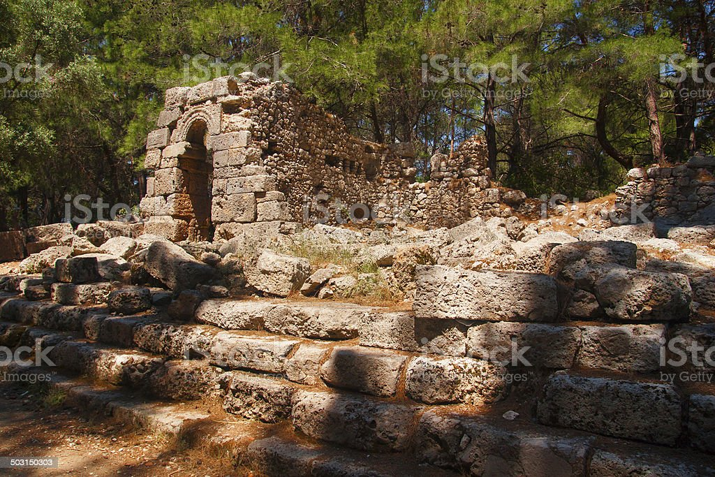 The ruins of the ancient city of Phaselis, Antalya, Turkey stock photo