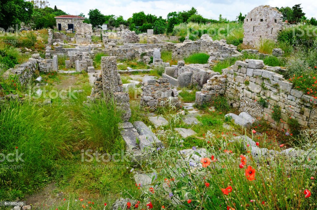 The ruins of the ancient city, Side, Turkey stock photo
