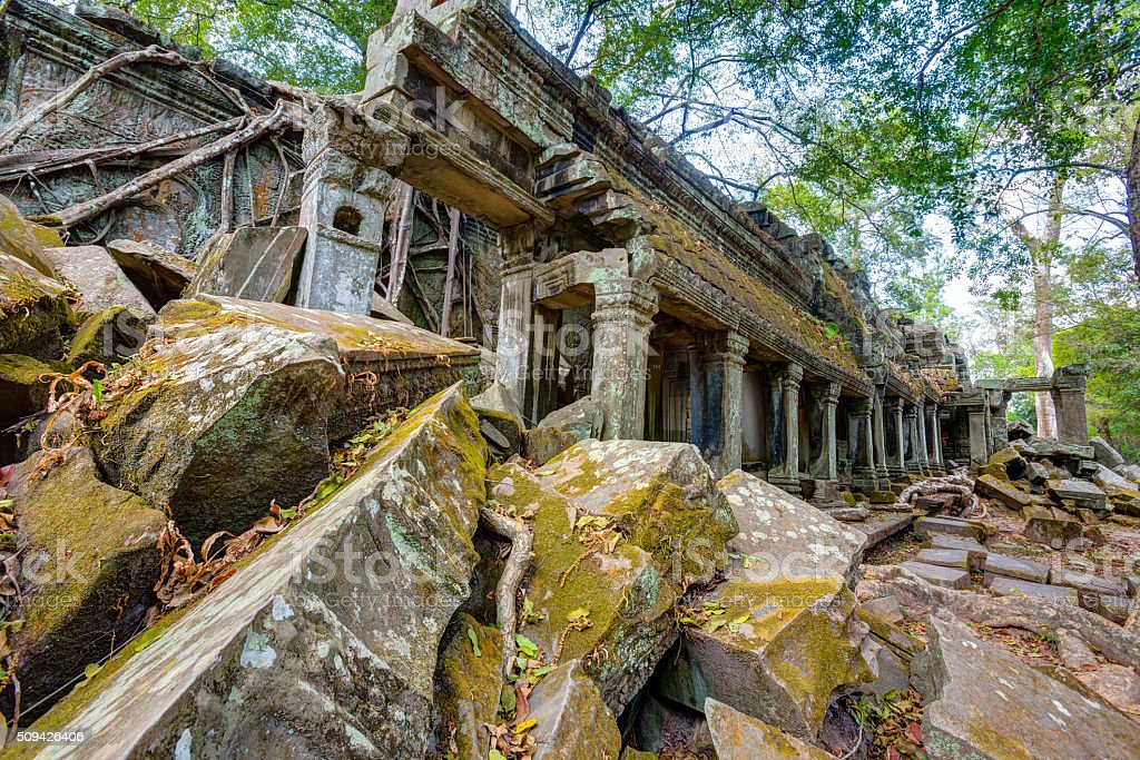 The ruins of the ancient temple Ta Som destroyed by stock photo