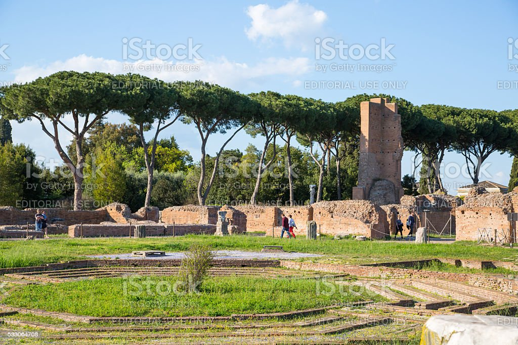 The ruins of the Domus Augustana on Palatine Hill. stock photo