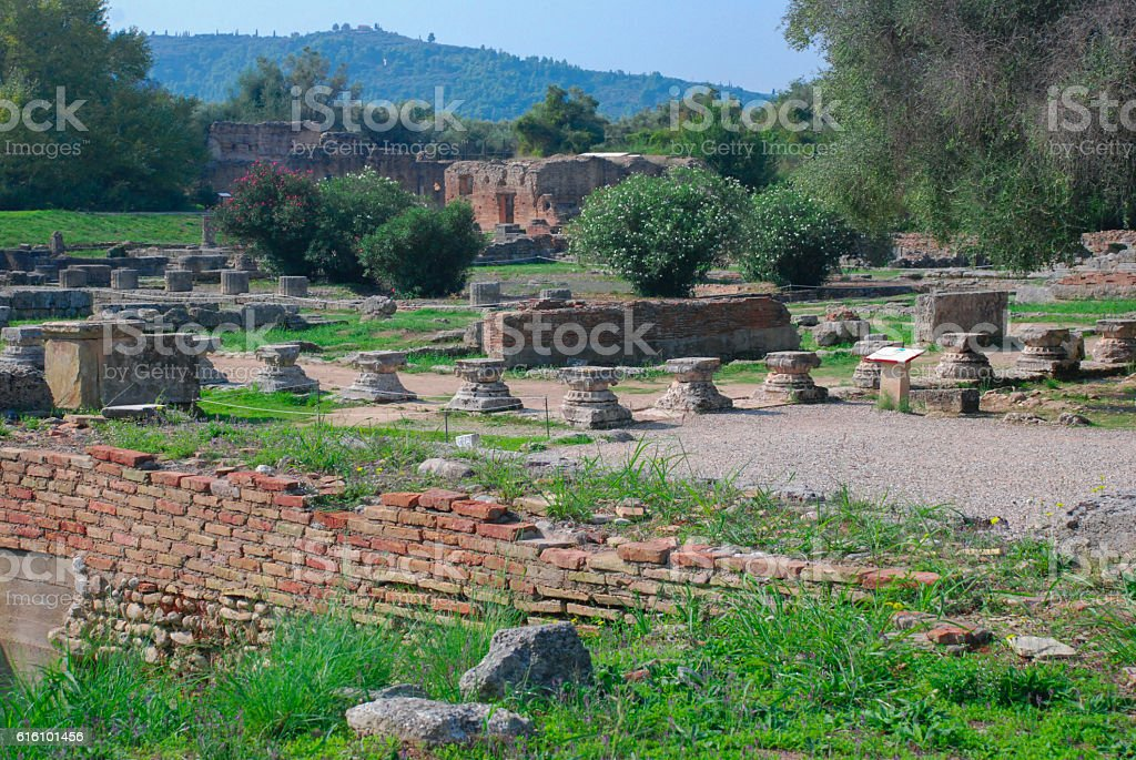 The ruins of the Doric temple of Hera stock photo
