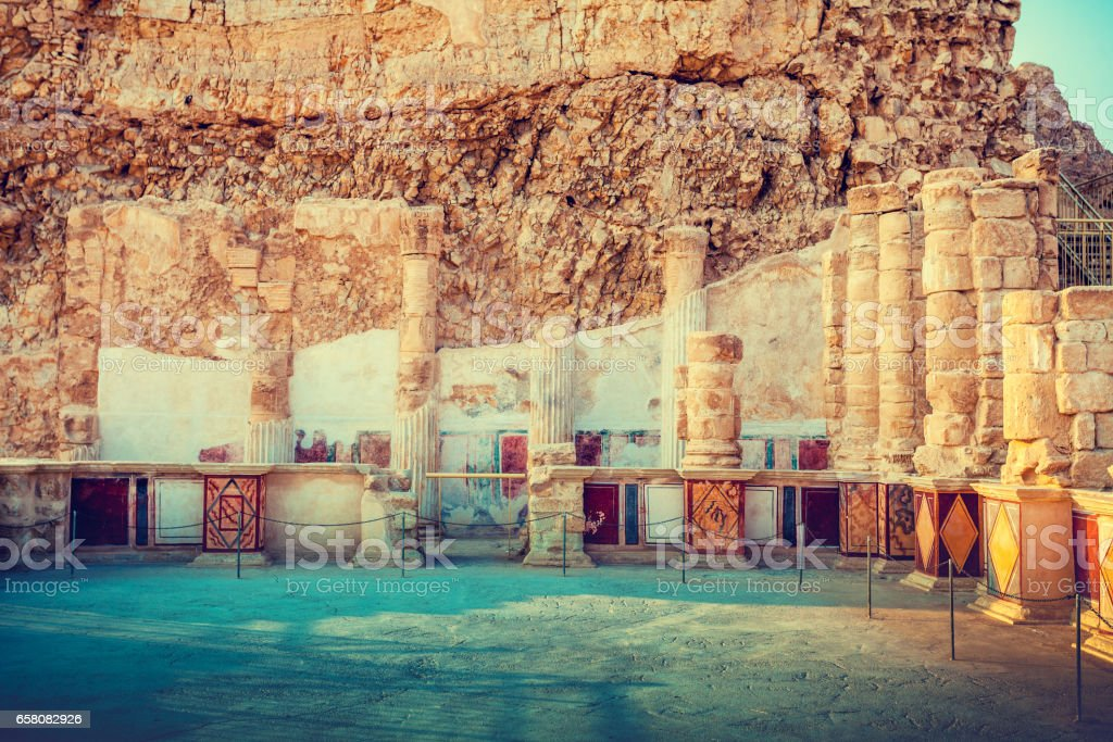 The ruins of the palace of King Herod's Masada. Israel. stock photo