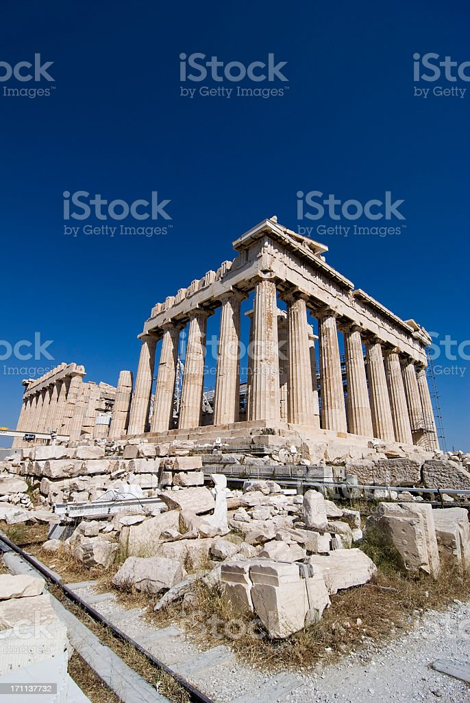 The ruins of the Parthenon in Athens Greece stock photo