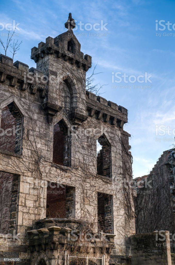 The ruins of the Smallpox Hospital on Roosevelt Island in Manhattan, NYC stock photo