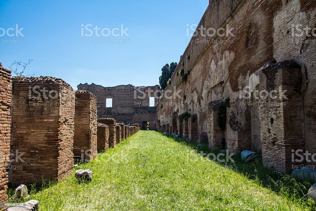 the ruins of the Stadium on the Palatine Hill in Rome, Italy stock photo