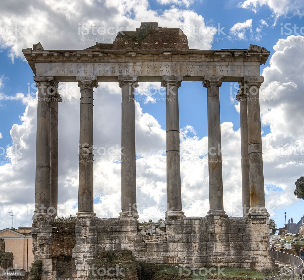 The ruins of the temple of Saturn. Roman Forum. stock photo