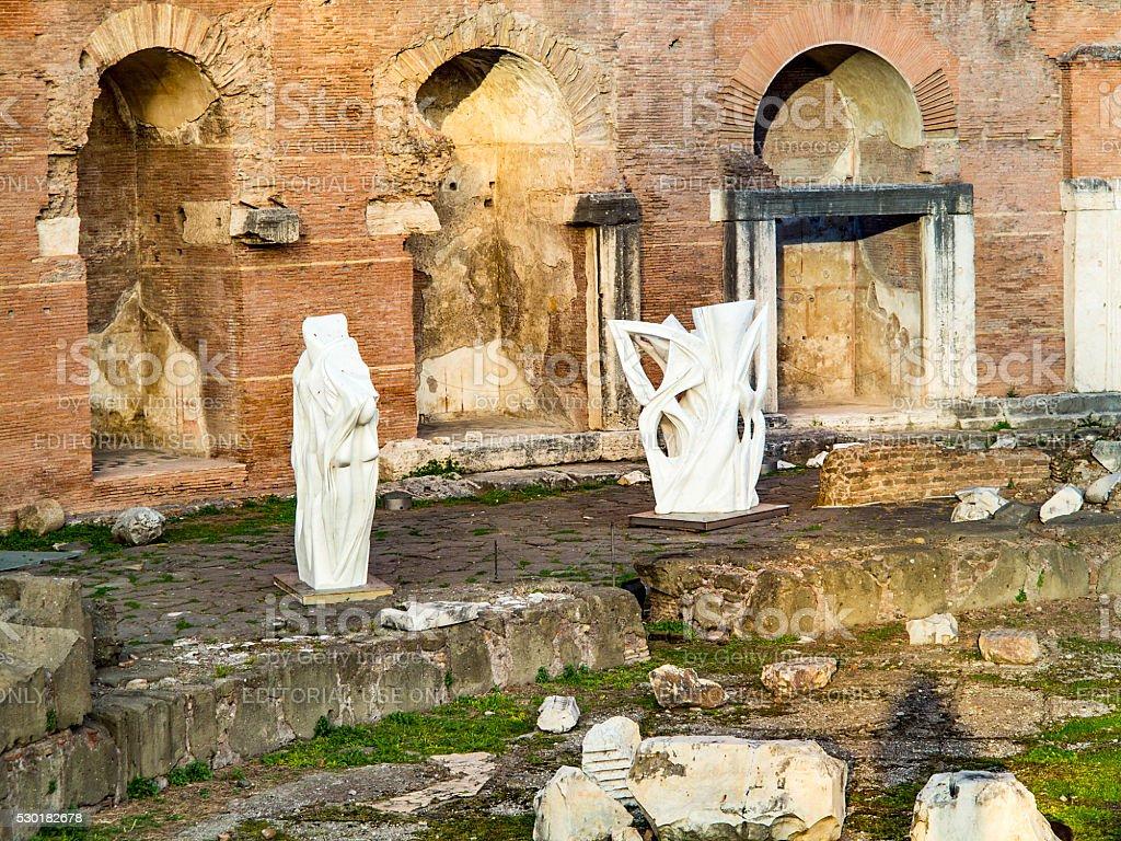 The ruins of Trajan's Market (Mercati di Traiano) in Rome stock photo
