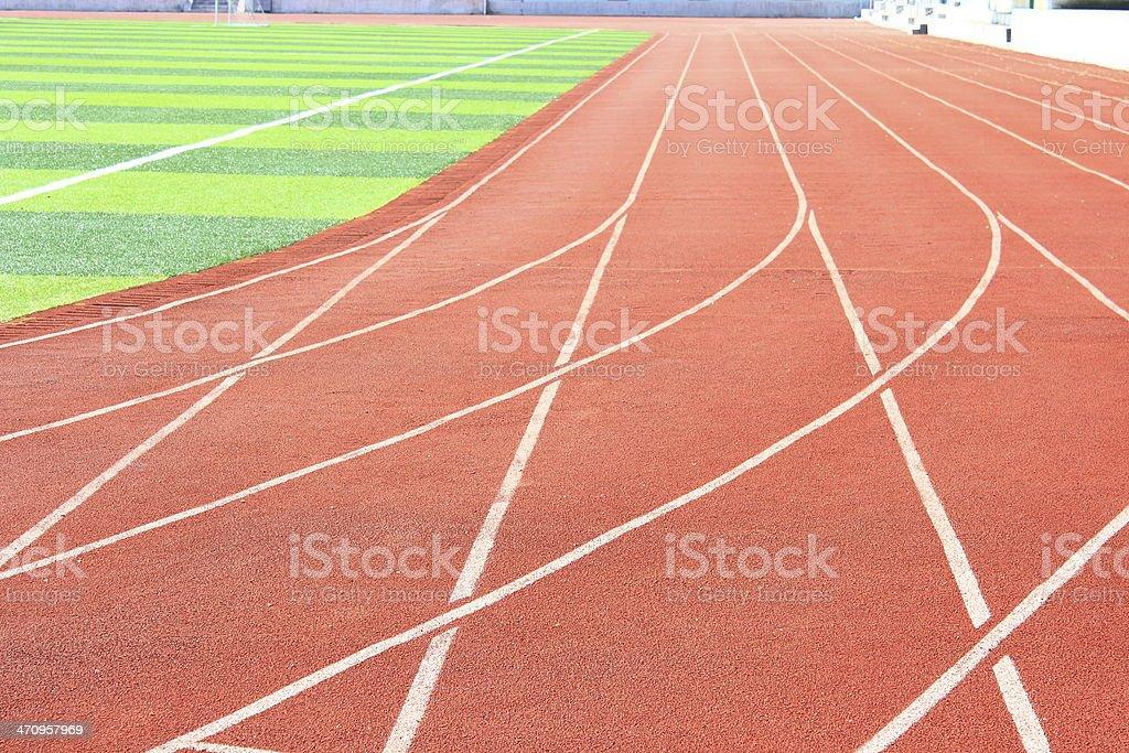 The running lanes on an oval athletics stadium track stock photo