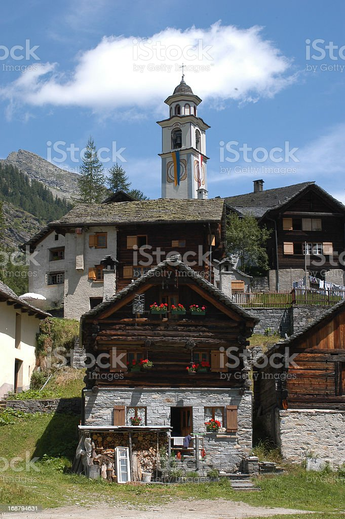 The rural village of Bosco Gurin on Maggia valley royalty-free stock photo