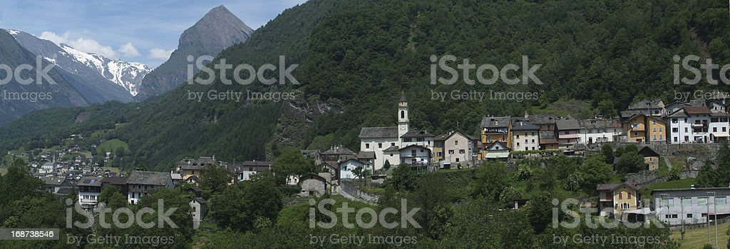 The rural village of Dangio on Blenio valley royalty-free stock photo