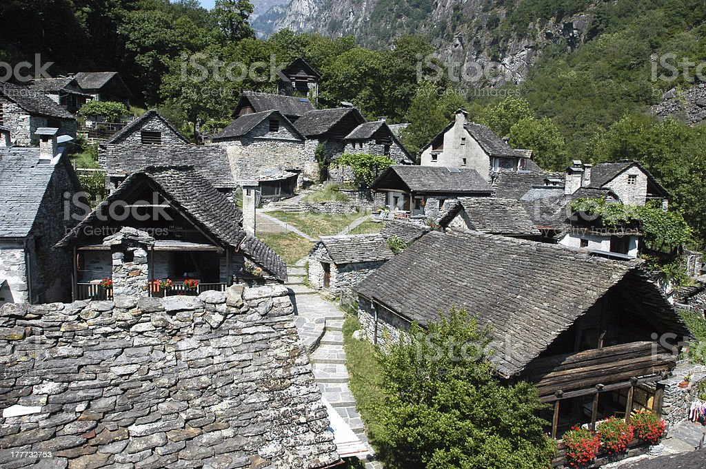 The rural village of Foroglio on Bavona valley royalty-free stock photo