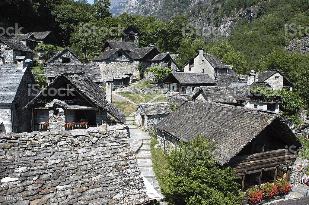 The rural village of Foroglio on Bavona valley stock photo