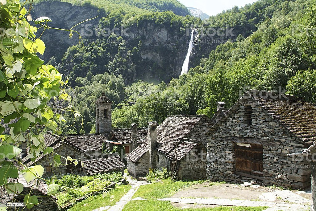 The rural village of Foroglio on Bavona valley stock photo