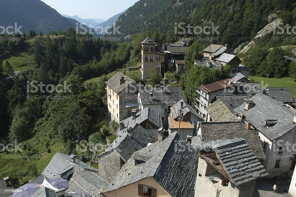 The rural village of Fusio on Maggia valley stock photo