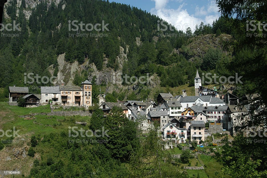 The rural village of Fusio on Maggia valley royalty-free stock photo